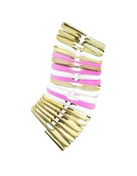Pluma Gold White And Pink Fishbone Bangle