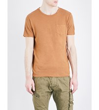 Replay Patch Pocket Linen And Cotton Blend T Shirt Rust