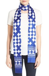 Kate Spade Women's New York Lantern Long Skinny Scarf Cobalt Blue