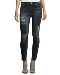 7 For All Mankind The Ankle Skinny Jeans W Clean Patches Black Shadow