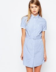 Fred Perry Tonal Polka Dot Belted Shirt Dress Blue
