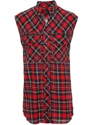 Filles A Papa Sleeveless Checked Shirt Red