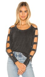 Chaser Strappy Cutout Long Sleeve Tee In Black.
