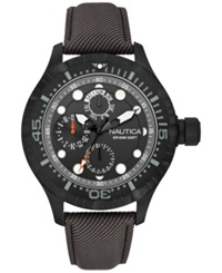 Nautica Men's Gray Strap Watch 49Mm N16683g Black