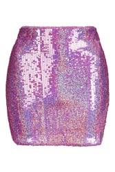 Jaded London Pink Hologram Sequin Mini Skirt By Multi