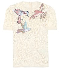 Red Valentino Embroidered Lace Blouse White