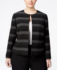 Tahari By Arthur S. Levine Asl Plus Size Striped Blazer Black Grey