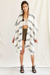 Urban Renewal Vintage Striped Ruana Open Poncho