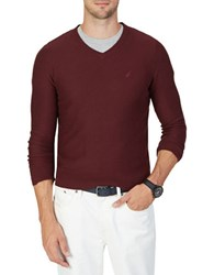Nautica Classic V Neck Sweater Shipwreck Burgundy