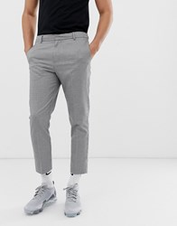 New Look Slim Fit Cropped Trousers In Puppytooth Black