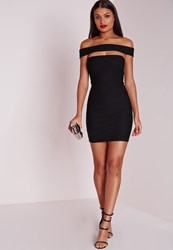 Missguided Cut Out Panel Bardot Bodycon Dress Black Black