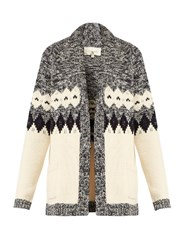 The Great Bonfire Cotton Blend Intarsia Knit Cardigan Blue White