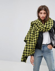 Asos Long Bright Houndstooth Scarf Yellow