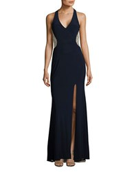 Xscape Evenings Beaded Mesh Gown Navy Nude Silver
