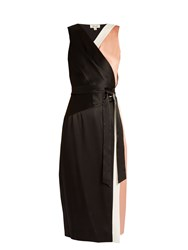 Diane Von Furstenberg Colour Block Satin Wrap Dress Black Pink