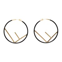Black And Gold Large 'F Is Fendi' Hoop Earrings