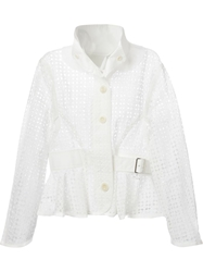 Sacai Luck Crochet Knit Jacket White
