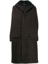 Y's Hooded Coat Brown