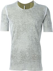 Label Under Construction Faded Effect Fitted T Shirt Grey
