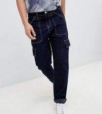 Noak Straight Leg Cargo Trousers In Dark Navy With White Stitching Dark Navy