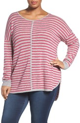 Sejour Plus Size Women's Wool And Cashmere Scoop Neck Sweater Grey Pink Stripe