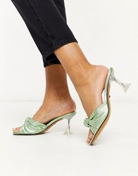 Topshop Knot Front Metallic Heeled Mules In Green