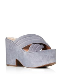 Sigerson Morrison Blanche Platform Slide Sandals 100 Bloomingdale's Exclusive Blue