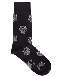 Kenzo Black Socks With Tiger All Over Logo