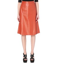 Whistles A Line Leather Midi Skirt Tan