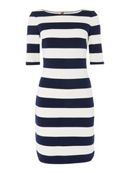 Eliza J 3 4 Sleeve Jersey Striped Dress With Stretch White And Navy White And Navy
