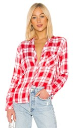 Rails Hunter Button Down In Red. Candy Apple And White