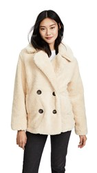 Free People Notched Teddy Pea Coat Ivory