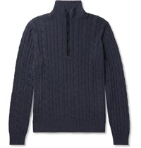 Loro Piana Suede Trimmed Cable Knit Baby Cashmere Half Zip Sweater Navy