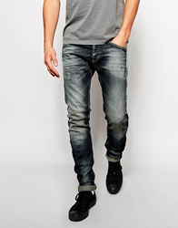 United Colors Of Benetton Skinny Fit Jeans With Rips Darkblue