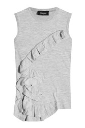 Dsquared2 Cotton Tank With Ruffle