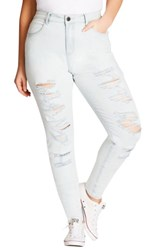 City Chic Plus Size Women's Distressed Skinny Jeans Light Denim