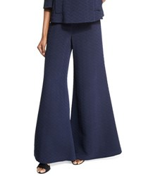 Co Textured Wide Leg Flare Pants Navy
