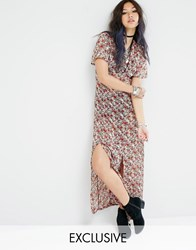 Milk It Sheer Maxi Tea Dress In Retro Floral Print Black