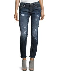 Miss Me Skinny Mid Rise Jeweled Jeans Dark Blue