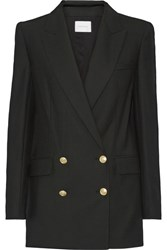 Balmain Pierre Double Breasted Twill Blazer Black