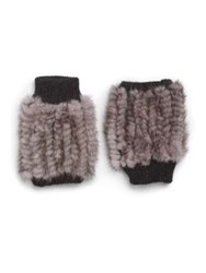 Jocelyn Mink Fingerless Gloves Grey Brown