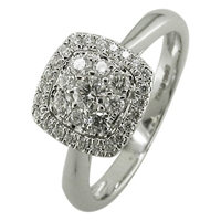 Ewa 18Ct White Gold 0.43Ct Cushion Cluster Engagement Ring N