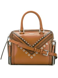 Diesel Letra Studded Tote Women Calf Leather One Size Brown