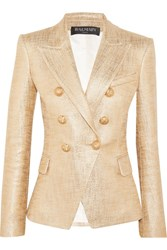 Balmain Double Breasted Painted Metallic Basketweave Cotton Blazer Gold