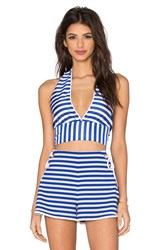 Clover Canyon Stripe Halter Crop Top Blue