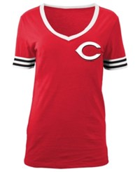 5Th And Ocean Women's Cincinnati Reds Retro V Neck T Shirt