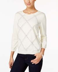 Alfred Dunner Petite Classics Embellished Sweater Ivory