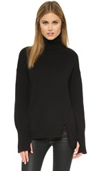 525 America Asymmetrical Turtleneck Sweater Black