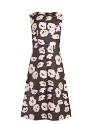 Marni Whisper Print Coated Poplin Midi Dress Green Multi