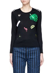 Marc Jacobs Sequin Embroidered Patch Wool Sweater Black